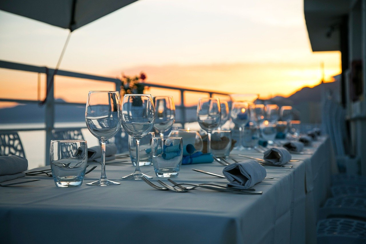 table, glassware, cutlery